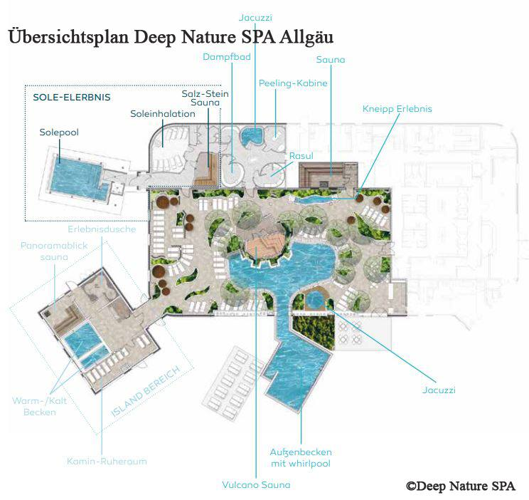 Grundriss Plan vom Deep Nature SPA | Center Parcs Allgäu Ferienpark Leutkirch