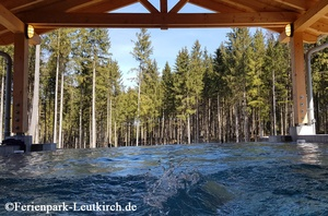 Horizontpool mit Waldblick im Deep Nature SPA Center Parcs Allgäu