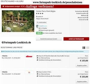 Buchung Center Parcs Allgäu