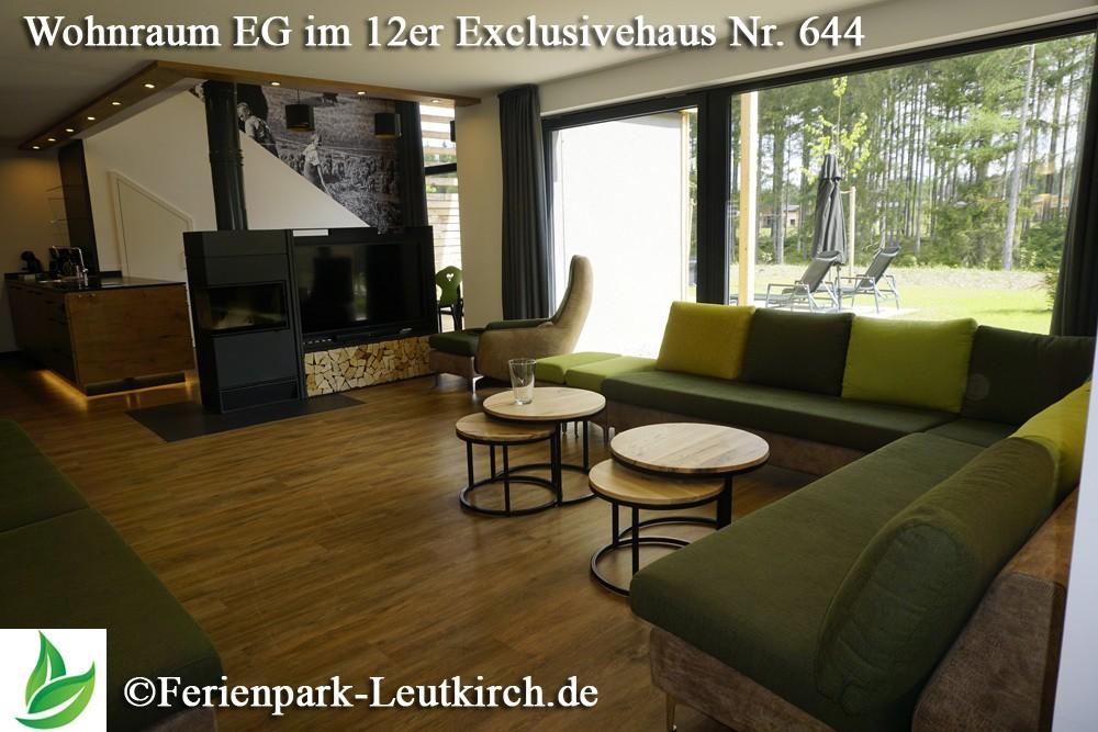 Wohnbereich Sofa 12er Exclusivehaus Center Parcs Allgäu Nr. 644 - Ferienpark Leutkirch.